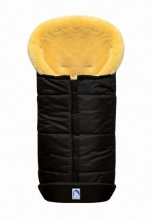 großer Baby Premium Winter Lammfell Fußsack schwarz waschbar, Kinderwagen, Bu...