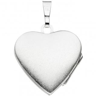 Medaillon Herz Anhänger zum Öffnen für 2 Fotos 925 Silber mit Kette 60 cm