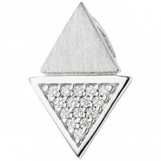 Anhänger dreieckig 925 Sterling Silber teil matt 15 Zirkonia Silberanhänger