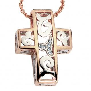 Anhänger Kreuz 585 Gold Weißgold Rotgold bicolor 6 Diamanten Brillanten