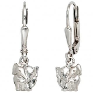 Kinder Boutons Elefant 925 Silber teil matt Ohrringe Ohrhänger Kinderohrringe