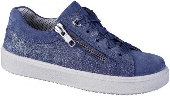 SUPERFIT Mädchen Leder Sneakers blau, mittlere Weite, Superfit Decksohle