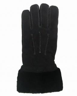 superdicke Damen Rindleder Finger Fellhandschuhe schwarz, Größe 7