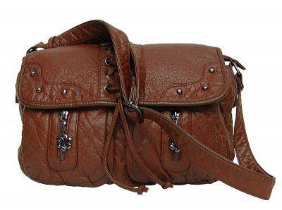 Angel kiss AK3018 große Umhänge Tasche stonewashed Leder Look cognac, Shopper, 3 Hauptfächer, langer Trageriemen, 31x25x10 cm