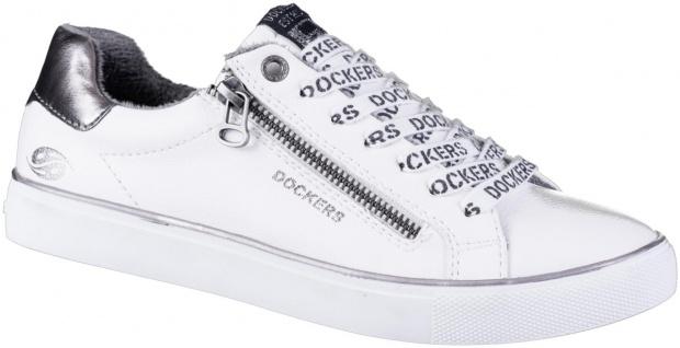 DOCKERS Damen Leder Imitat Sneakers weiss, Fleecefutter, weiches Fußbett