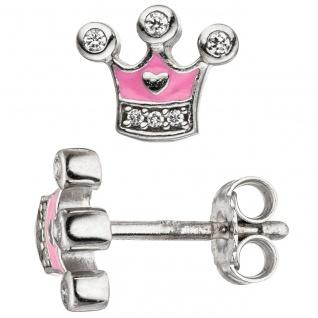 Kinder Mädchen Schmuck-Set Krone pink rosa 925 Silber Zirkonia mit Kette 38 cm - Vorschau 4