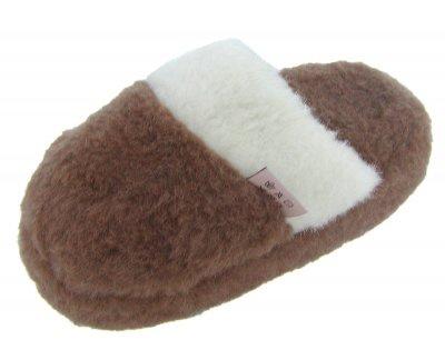 weiche und warme Herren Woll Hauspantoffeln braun waschbar, 100% Merinowolle, rutschfeste Sohle, Gr. 43