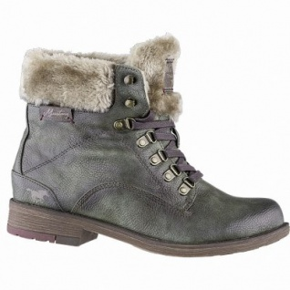 Mustang coole Damen Leder Imitat Winter Boots olive, molliges Warmfutter, 13 cm Schaft, Mustang Laufsohle, 1641321