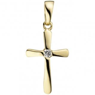 Anhänger Kreuz 375 Gold Gelbgold 1 Zirkonia Kreuzanhänger Goldkreuz
