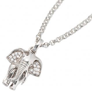 Anhänger Elefant 925 Sterling Silber rhodiniert mit Zirkonia Kettenanhänger
