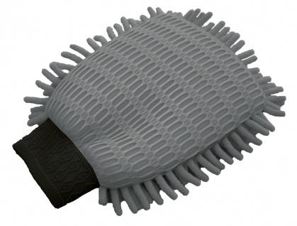 Auto Mikrofaser Wasch Handschuh mit 2 Seiten grau, 17x22 cm, reinigt ohne kra...