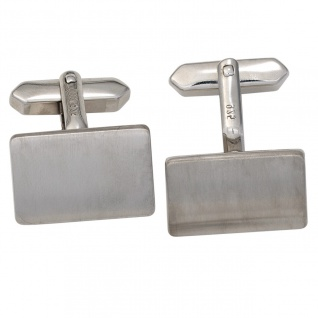 Manschettenknöpfe 925 Sterling Silber rhodiniert matt