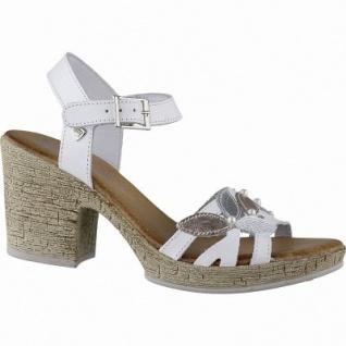 BLK Blackstone stylishe Damen Leder Sandaletten white, gepolsterte Leder Decksohle, Plateau Laufsohle, 1442147/36