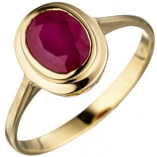 Damen Ring oval 585 Gold Gelbgold 1 Rubin Goldring Rubinring