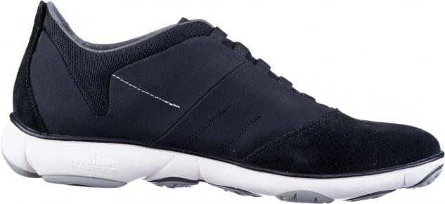 GEOX Herren Leder Sneakers black, Nebula Ausstattung, herausnehmbares Geox Le...