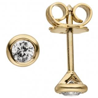 Ohrstecker rund 585 Gold Gelbgold 2 Diamanten Brillanten 0, 14 ct. Ohrringe