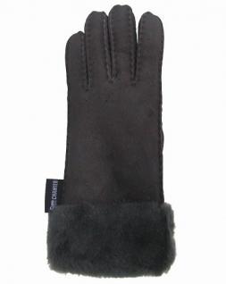Damen Winter Fell Finger Handschuhe grau mit Pelzmanschette, Größe 8