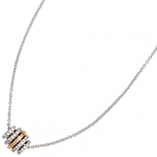 Collier Kette mit Anhänger 585 Gold bicolor 64 Diamanten Brillanten 45 cm