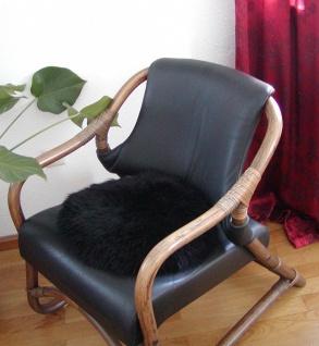 runde Sitzauflage aus australischen Lammfellen, Fellkissen rund schwarz, Ø ca...