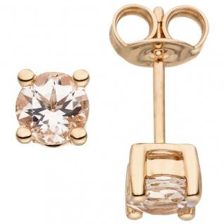Ohrstecker 585 Gold Rotgold 2 Morganite Ohrringe Goldohrringe