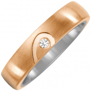 Partner Ring Halbes Herz aus Titan und Bronze 1 Diamant Brillant Partnerring