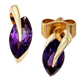 Ohrstecker 585 Gold Gelbgold 2 Amethyste lila violett Ohrringe Goldohrstecker