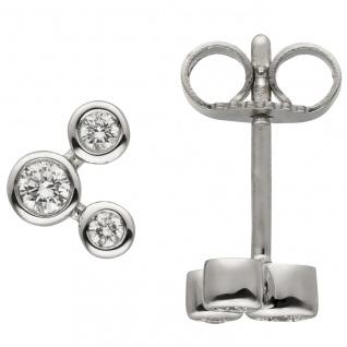 Ohrstecker 585 Gold Weißgold 6 Diamanten Brillanten Ohrringe Goldohrringe