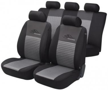 Komplett Set Universal Netzoptik Polyester Auto Sitzbezüge silber 8-teilig, 30 Grad waschbar, Rücksitzbankbezug 6-teilig