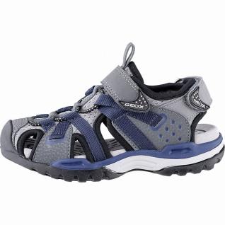 Geox Jungen Synthetik Sandalen dark grey, weiches Leder Fußbett, Antishock