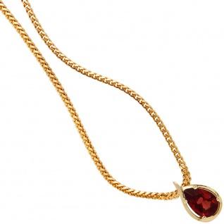 Anhänger Tropfen 585 Gold Gelbgold 1 Granat rot Goldanhänger Granatanhänger
