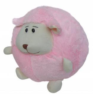 süßes superweiches Stofftier Kuscheltier Kugel Schaf aus Mikrofaser rosa, voll waschbar bei 30 Grad, Ø ca. 35 cm