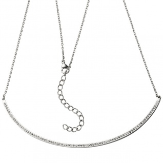Collier Halskette Kette mit Anhänger aus Edelstahl mit Kristallen 50 cm - Vorschau 1