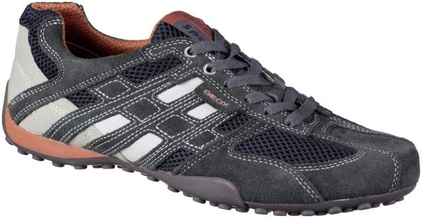 GEOX Herren Leder Sneakers dark grey, Meshfutter, atmungsaktive Geox Laufsohle