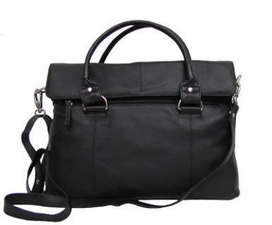 Dolphin Damen Leder Shopper schwarz, Leder Business Tasche, 4 Fächer, ca. 39x29x8 cm - Vorschau 1