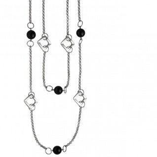 Collier Halskette 2-reihig aus Edelstahl mit schwarzem Achat 55 cm Kette