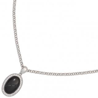 Anhänger oval 925 Sterling Silber mit 1 Onyx Cabochon schwarz und Zirkonia