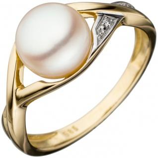 Damen Ring 585 Gold Gelbgold bicolor 1 Süßwasser Perle Goldring Perlenring