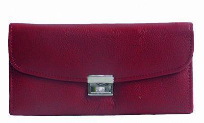 große Leder Kellner Geldbörse rot, 7 Fächer + Kleingeldfach, Öse, 18 cm breit, 9-11 cm hoch
