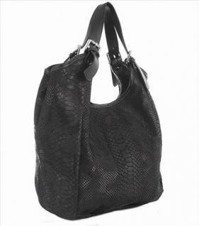 exklusive elegante Leder Beutel Tasche schwarz, geprägtes Leder, ca, 36 cm hoch