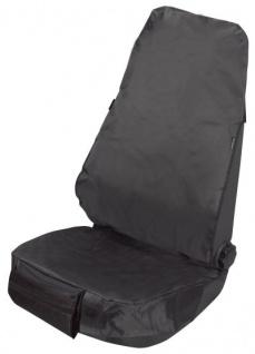 Universal Sitzschoner, Polyester Werkstatt Sitzbezug schwarz, große Kopfstützenabdeckung. KFZ Schonbezug
