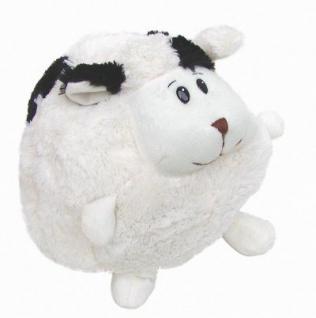 süßes Stofftier Kuscheltier Kugel Schaf mit schwarzen Flecken aus Mikrofaser, voll waschbar bei 30 Grad, Ø ca. 25 cm