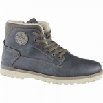 Mustang coole Herren Leder Imitat Winter Boots graphit, molliges Warmfutter, warme Decksohle, 2539104
