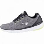Skechers Flex Advantage 3.0 coole Herren Mesh Sneakers grey, Air-Cooled Memory Foam-Fußbett, 4242119/39