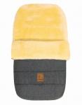 warmer Baby Winter Lammfell Fußsack grau meliert waschbar, für Kinderwagen, Buggy, ca. 86x47 cm, 5-Punkt-Gurtschlitze