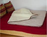 Bettdecke, Wolldecke aus reiner Merino Wolle beige/hellbraun, waschbar bei 30 Grad, ca. 160x200 cm