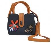 Angel kiss FLOWER kleine freche Handtasche mit Glitzer blau/gelb, Fashion Strap INKA Design, 22x18x10 cm