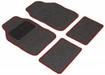 Komplett Set Universal Polyester Auto Fußraum Matten schwarz rot 4-teilig, rutschfest beschichtet, alle PKW
