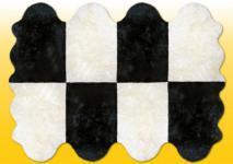 Fellteppiche naturweiß-schwarz aus 8 Lammfellen, Größe ca. 185 x 235 cm, 30 Grad waschbar