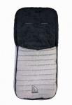 Baby Übergangs Stepp Fleece Fußsack für kühle Tage grau waschbar, für Kinderwagen, Buggy, ca. 91x43 cm, 6 Gurtschlitze