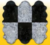 Fellteppiche grau-schwarz aus 6 Lammfellen, Größe ca. 185 x 180 cm, 30 Grad waschbar